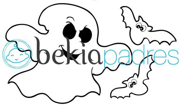 Fantasma con murci lagos dibujo para colorear - Dibujos de murcielagos para ninos ...