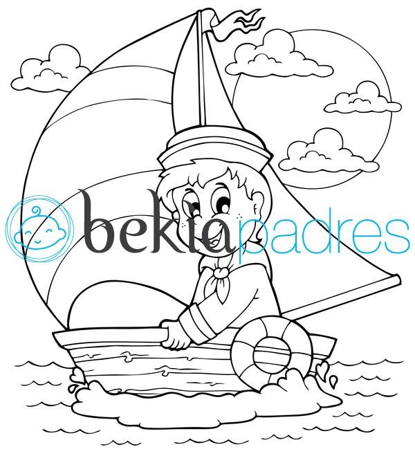 Marinero en un barco de vela: dibujo para colorear