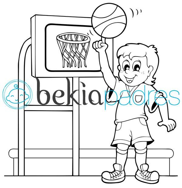 Niño jugando al baloncesto: dibujo para colorear