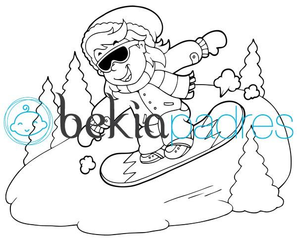 Dibujos De Otoño Para Colorear E Imprimir Gratis: Snowboarding En La Nieve: Dibujo Para Colorear