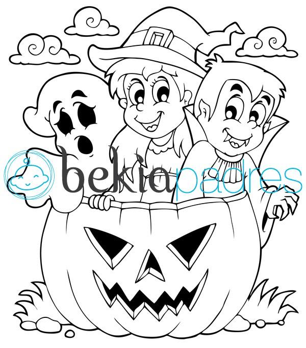 Fantasma bruja vampiro y calabaza de halloween dibujo for Calabaza halloween dibujo