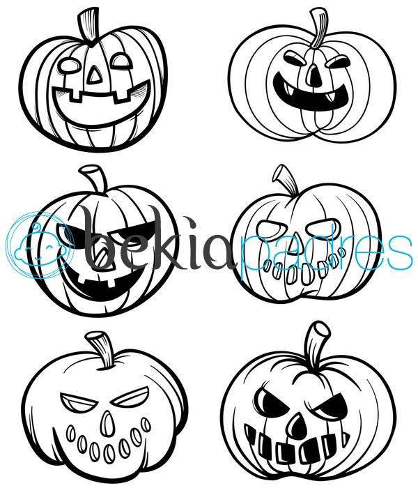Calabazas de halloween dibujo para colorear - Calabazas para imprimir ...